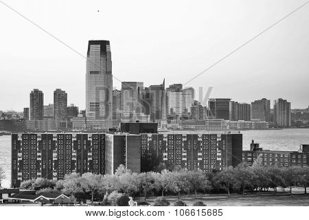 Jersey City At Sunset Bw