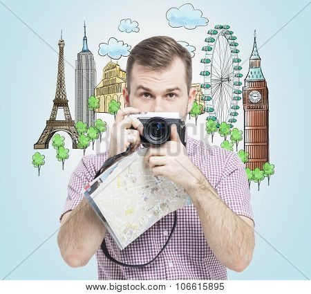 A Front View Of The Handsome Tourist With Camera. Drawn Sketches Of The Most Famous Touristic Places