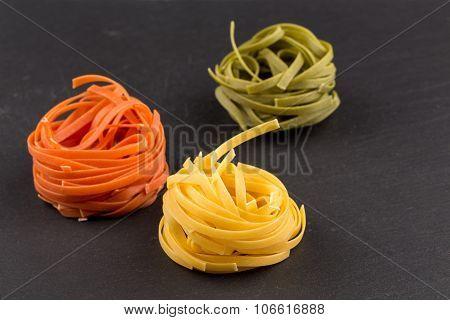 Different Pasta In Three Colors
