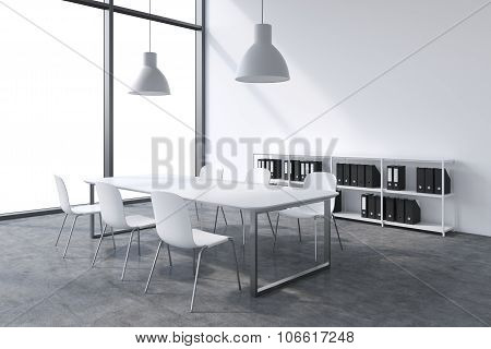A Conference Room In A Modern Panoramic Office With White Copy Space In The Windows. White Table, Wh