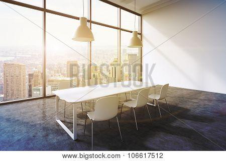 A Conference Room In A Modern Panoramic Office With New York City View. White Table, White Chairs An