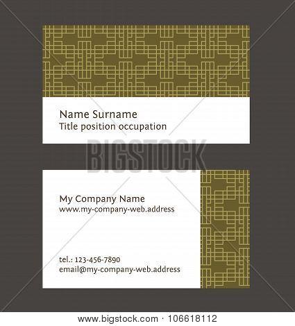 Business Card Layout. Linear Geometric Pattern. Editable Design Template