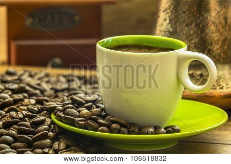 Fresh Coffee From Bio Coffee Beans Prepered In Turkish Coffee Pot