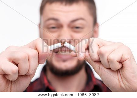 Angry hipster guy is refusing to smoke