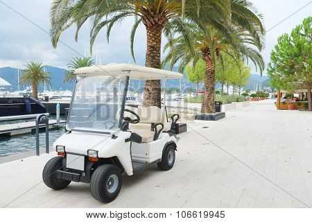 Tivat, Montenegro, October, 6, 2015: Electric automobile on Tivat embankment, Montenegro