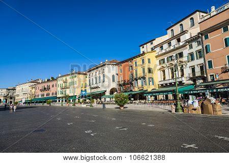 People Enjoy Walking At Piazza Bra In Verona