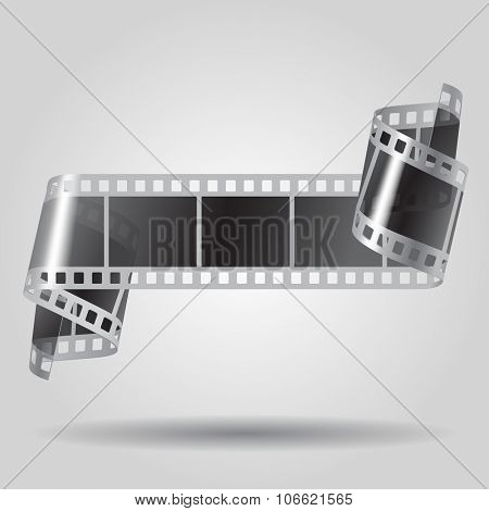 Curled film strip in black and white colors. Movies concept. Vector illustration