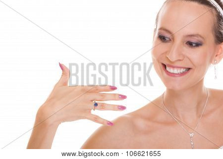 Happy Bride Woman With Engagement Ring On Finger.