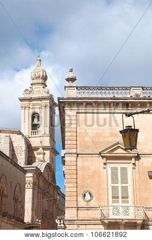 Detail Belfry Church Mdina , Malta