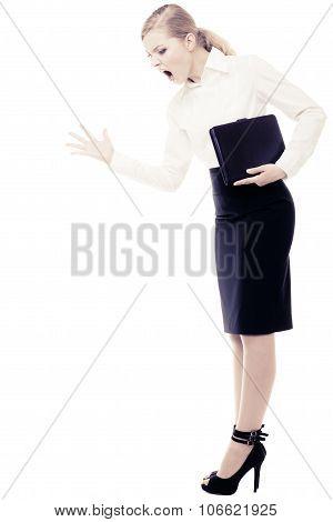 Stress. Angry Businesswoman Teacher Woman Screaming.