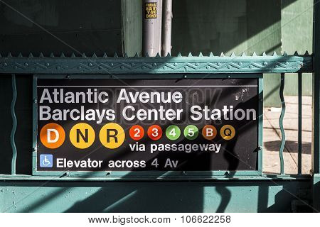 Old Vintage Sign Atlantic Avenue And Barclays Station In Brooklyn