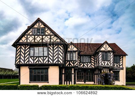 Medieval Tudor house in Birmingham UK Blakeslay Hall exterior view