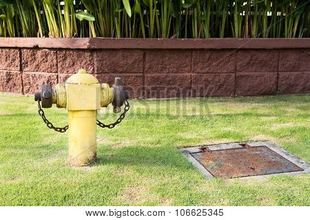 Yellow Fire Hydrant At Strategic Residential Ready For Emergency