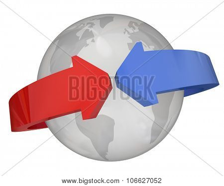 Arrows around globe, planet or earth to illustrate international relations, partnership, trade or agreement