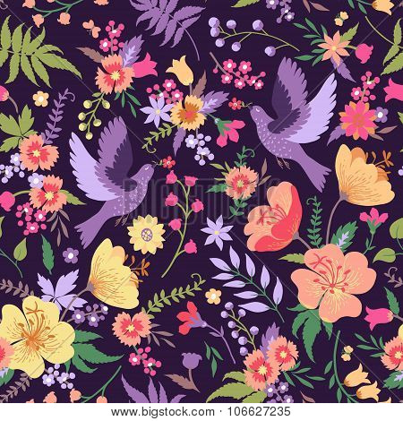 Seamless Pattern With Birds And Flowers.