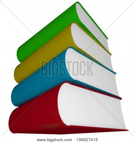 Four books, novels, manuals or textbooks piled or stacked and isolated