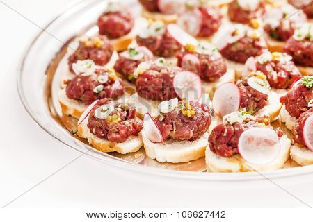 canape with meat