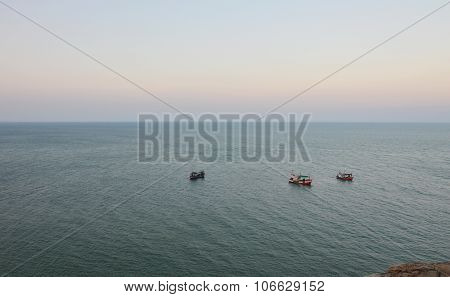 fishery boat floating on the sea