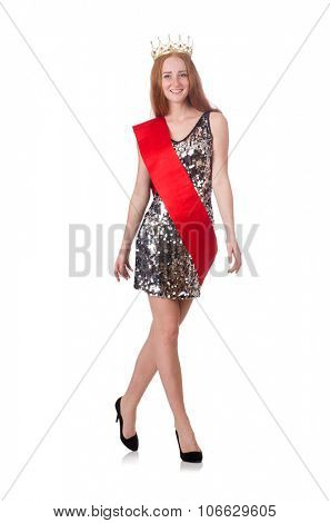 Beauty contest winner isolated on white