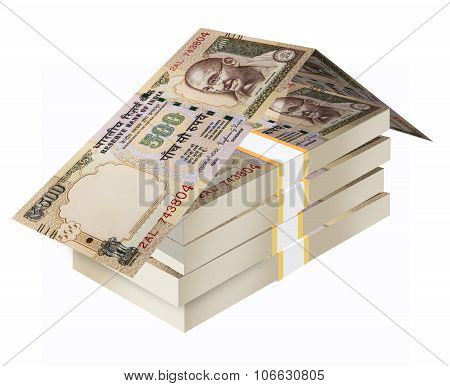 Real Estate Concept using Indian Rupee, indian currency 500 rupee notes