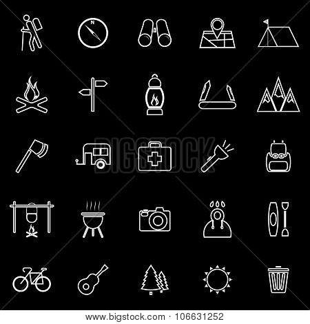 Trekking Line Icons On Black Background