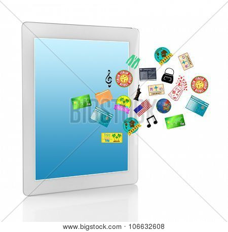 Tablet-pc with vector icons on blue screen, isolated on white