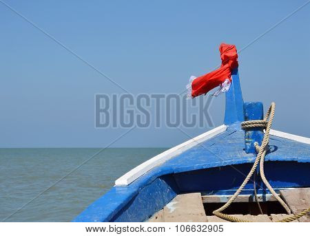 prow of boat sailing to the sea