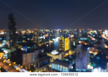 City light nigh view, blurred bokeh background