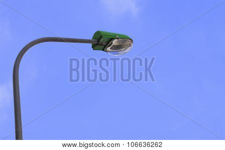 Street light. Street lamp on blue sky and white cloud