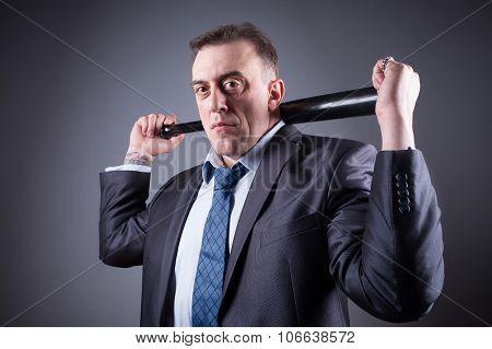 male gangster with baseball bat