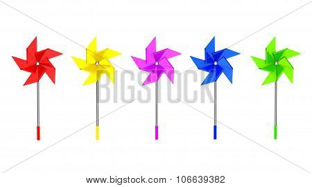 Multicolored Toy Pinwheel Windmill