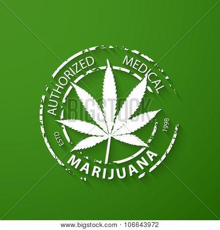 Authorized Medical Marijuana Grunge Rubber Stamp