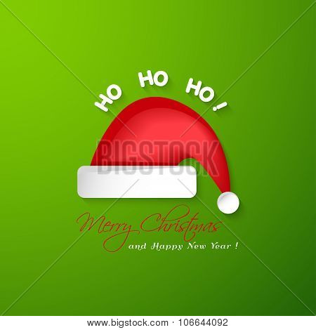 Merry Christmas And Happy New Year Greeting Card.santa Claus Red Hat