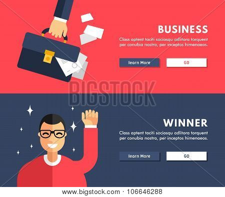 Flat Design Concept For Web Banners. Business. Winner