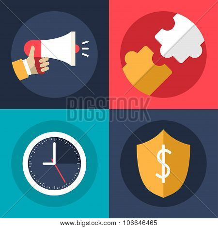 Set Of Flat Design Vector Business Icons. Promotion, Creative Ideas, Security, Time Management