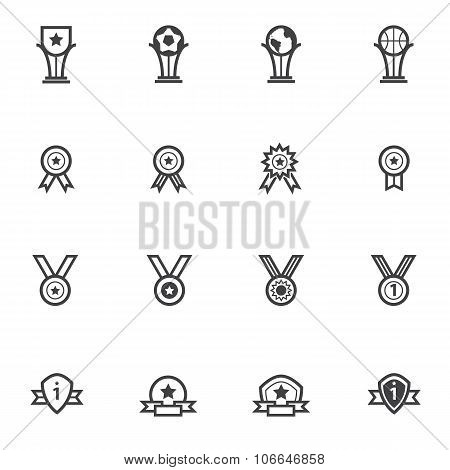 Trophy and awards icons set. Line icons