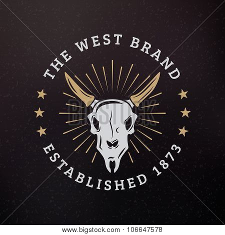 Animal Scull. Vintage Retro Design Elements For Logotype, Insignia, Badge, Label. Business Sign Temp