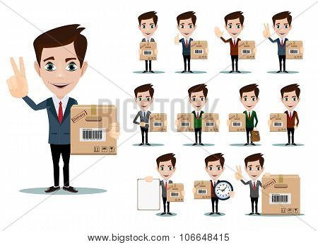 Delivery men vector flat illustration