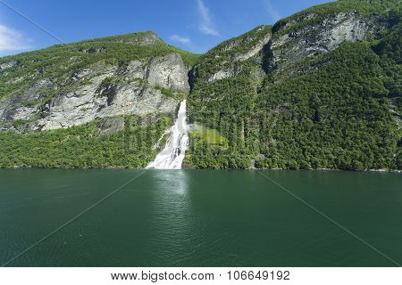 Waterfall In Geiranger Fjord