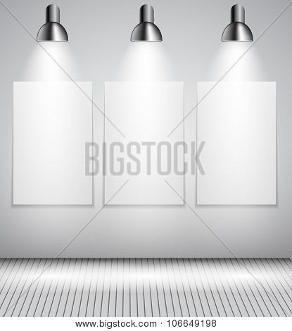 Background with Lighting Lamp and Frame. Empty Space for Your Te