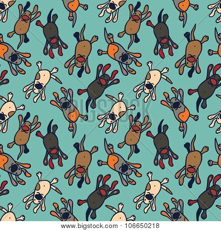 Bright seamless pattern with cute cartoon dogs