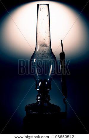 old kerosene lamp with mirror isolated on white background - retro