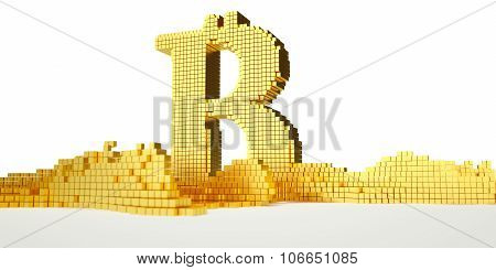 bitcoin symbol melts into liquid gold. path included