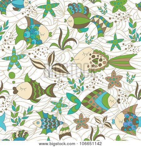 Marine Seamless Abstract Background with Fish.
