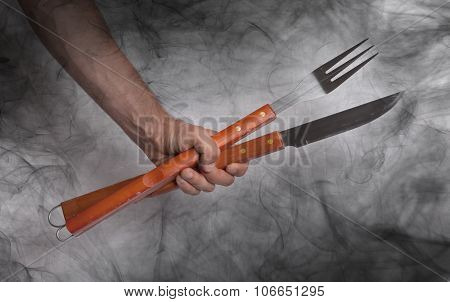 Hand Hold Of Bbq Equipment