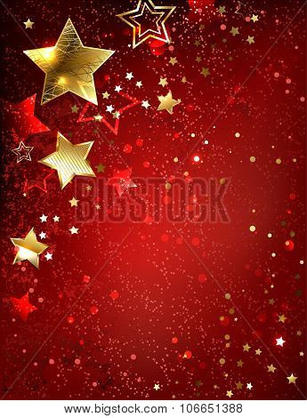 Gold Star On A Red Background