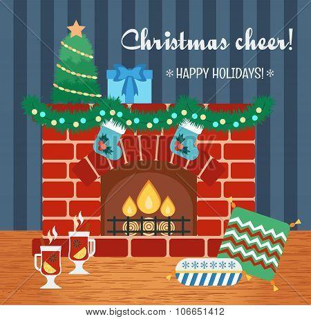 Christmas Attributes. Christmas Gift Card. Christmas Cheer. Flat Design. Vector