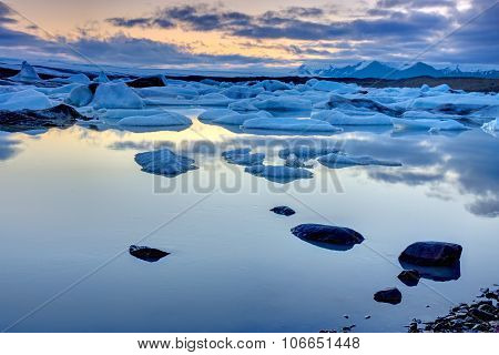 The Jokulsarlon lagoon at midnight