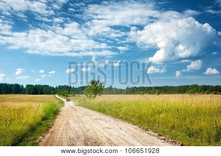 Countryside road with a car