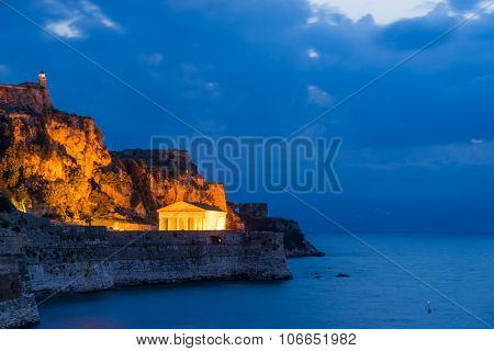 Hellenic temple and old castle at Corfu island